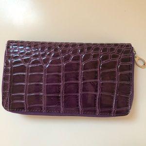 Handbags - 🇮🇹Italian purple croc wallet, Made in Italy🇮🇹
